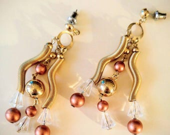 WOW!  Fun and Funky Dangle Earrings-Vintage-Copper, Gold, Clear Bead, Spring-All Orders Only .99c Shipping!