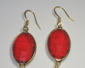 Red Oval Gold Casing and Gold Chain Earrings,Earrings,Jewelry,Gold Earrings,Gift for Her,Dangle Earrings,Chain Earrings,Evening Earrings