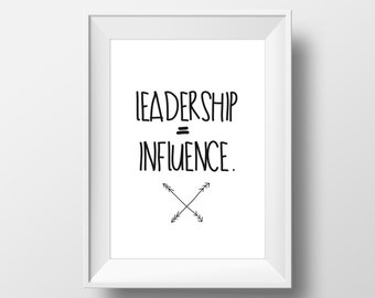Leadership Quote Print Wall Art | Typography Poster | Printable Art Printable scalable to ALL SIZES
