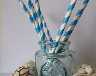 12 light blue and white striped paper straws