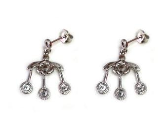 Greek Ancient Minoan Bees Sterling Silver Rhodium Plated Earrings