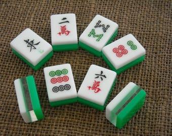 Green Mahjong Tiles - Mahjong Tiles for Crafts - Free Shipping - Mahjongg Supplies  - Tri-Color Tiles - Create for Mahjong - Mahjong Crafts