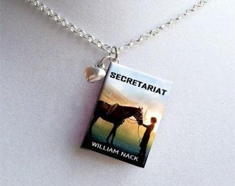 Secretariat with Tiny Heart Charm - Miniature Book Necklace