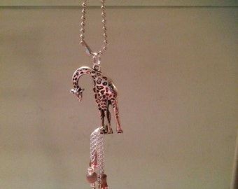 Rear View Mirror Charm or Sun Catcher - Giraffe Pendant with 2 charms - Comes with ball chain and suction cup