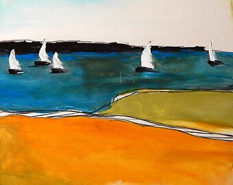 Abstract image with sailing ships