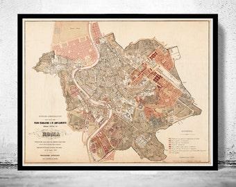 Vintage Map of Rome Roma, Italia 1883 Antique map of Rome