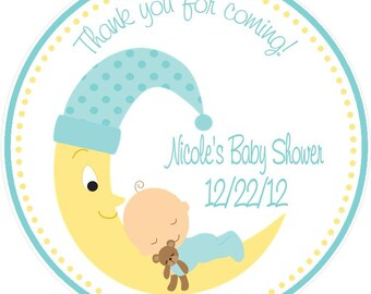 Baby Shower Favor - Baby Shower Favor Tag - Shower Favor - Moon Baby Shower Favor - Baby Shower Tags ( Set fo 12)