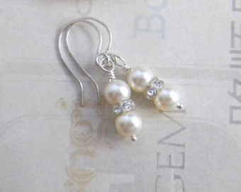 Pearl Wedding Earrings Ivory or Cream Pink White Bridal Earrings with Swarovski crystals and glass pearls Bride Bridesmaid Wedding Jewelry
