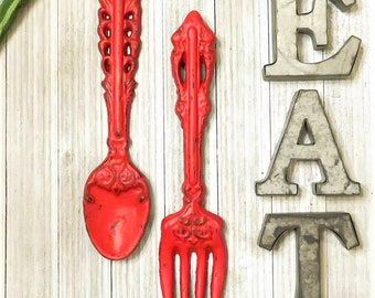 Kitchen Decor, Fork and Spoon SET, Kitchen EAT Signs, Kitchen Wall Decor, Home Decor, Rustic Kitchen Decor, Wedding Gift, Housewarming Gift