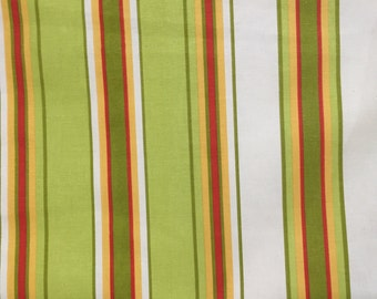Green, Yellow, and Red Stripe Fabric - Upholstery Fabric by the Yard