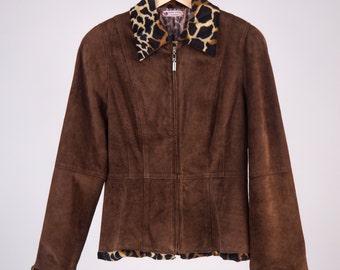 Suede Jacket 80 ' animalier Italian style, eco fur collar, giraffe-cod D30