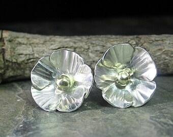 Sterling Silber Blume Ohrstecker Hahnenfuß Mohn-Natur-Schmuck - La Petite Buttercup Ohrstecker