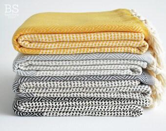 SALE 50 OFF/ BathStyle / Diamond Style Turkish Beach Bath Towel Peshtemal / Yellow-Gray-Black