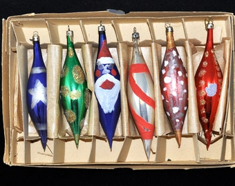 6, Box of Ornaments, We have more, 1950's Ornament, Hand Painted, Great color assortment, Great Gift Idea, #37