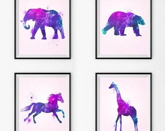 Watercolor Nursery Art Set Of 4- Watercolor Nursery Art - Wall Art - Pink Animals - Watercolor Canvas - Watercolor Print - Girl Paintings