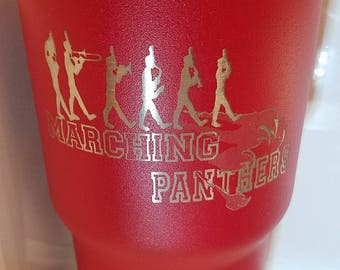 30oz red custom Marching Panthers tumbler.