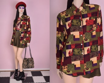 90s Multi Pattern Blouse/ Large/ 1990s/ Long Sleeve/ Button Down