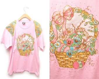 90s Pink Easter Applique Embellished T-Shirt Size XL Puff Paint Screen Star Glitter Gold