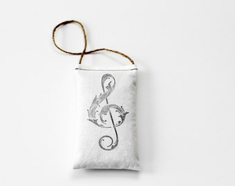 Piano Teacher Gift, Hanging Lavender Sachet with Treble Clef, Music Decor