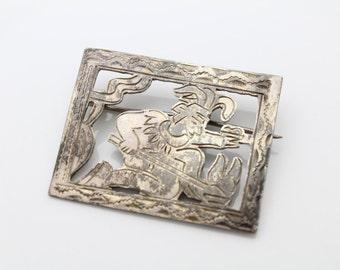 Vintage Sterling Silver Hand Engraved Aztec Warrior Panel Brooch. [267]