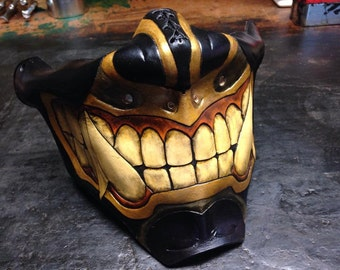 Black Leather Oni kabuki half mask