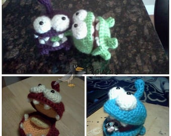 Hungry Little Monster Amigurumi- MADE to ORDER- Om Nom inspired toy, stocking stuffer, birthday, shower