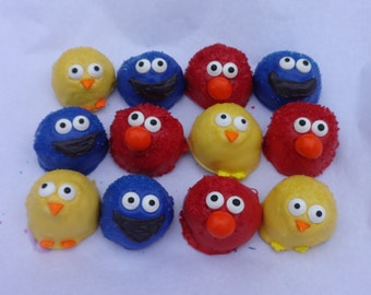 Sesame Street. Cake pops. cake ball Bitty Bites. One dozen. First birthday gift. Party favor. Elmo. Cookie Monster. Baby shower favor