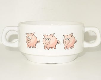 Soup Bowl , 1 pcs, pig piggi soup bowl small baby child kids , Bottom, hidden message, secret message, Soup Bowl, porcelain