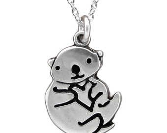 Otter Necklace - Sterling Silver Sea Otter Pendant or Charm