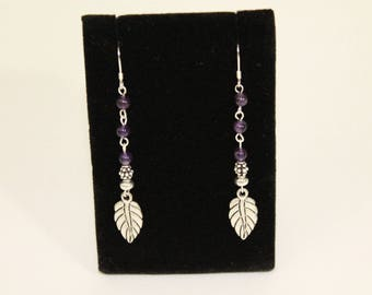 Amethyst and Sterling Silver Leaf Earrings.