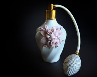 Nuova Capodimonte Art Porcelain Perfume Bottle ~ Pink Floral Bouquet Roses ~ Vintage Italian Neapolitan Style Porcelain