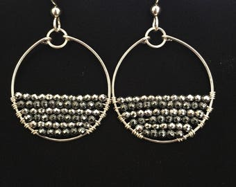 Hematite and Sterling Silver Earring