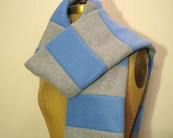 Blue, Gray Fleece Scarf - Light Blue, Light Gray Striped Long Winter Scarf - Accessories - Christmas Gift - Light Gray and Baby Blue Scarf