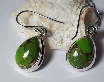 Green copper turquoise earrings, teardrop, 92.5 sterling silver,free shipping