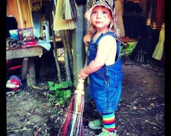Kid's Broom in your choice of Natural, Black, Rust or Mixed Broomcorn Kids Broom - Miniature KItchen Broom