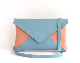 Blue Pink Crossbody Purse Small Cross Body Bag Vegan Leather Crossbody Bag Mini Cross Body Small Shoulder Bag Purse Small Crossbody Bag