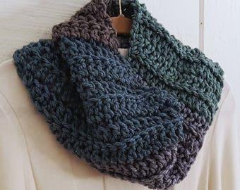 Crochet Chunky Cowl Teal Green Blue Gray Diagonal Rib Design Neckwarmer