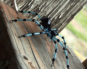 Beaded Spider - Hair Bobby Pin, Lapel Pin, Pendant or  Halloween Decoration, Dusty Blue on Black, Gothic Wedding by Smash Gardens on Etsy