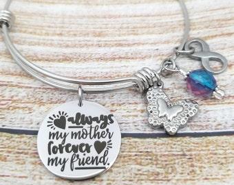 Always my Mother Forever my Friend Customizable Expandable Bangle Charm Bracelet, mom, daughter, son, gift for mom, mom bracelet