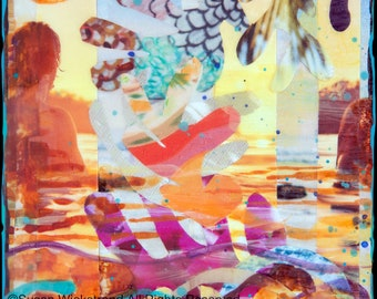 NEW! GLASSED, SUNSET Surf Session, 4x4 and Up, サーフ, Hand Painted, Hand-Glassed collaged artwork, wood panel, ocean, surfing, art, surf