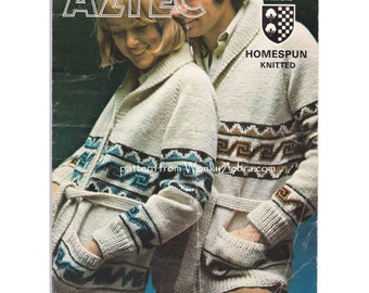 Vintage unisex Aztec Starsky style Mexican knitted wrap jacket with intarsia pattern shawl collar and pockets Knitting Pattern PDF 915