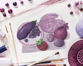 Purple vegetables_digital printable_wall art decor_original watercolour print_A4 print_diet watercolor_nutrition illustration_violet veggies