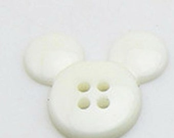 Button plastic Mickey, 10 buttons Mickey, white, 1 cm