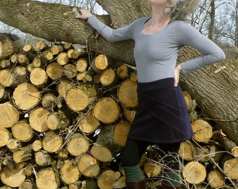 Organic Clothing Moon Beam Short Skirt Organic Merino Wool Embroidered Details Ornate High Waisted Skirt Woodland Hippie Boho Age Gracefully