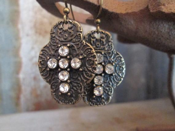 Metal Earrings, Cross Earrings, Brass Earrings