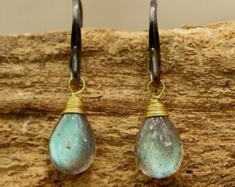 Teardrop cabochon labradorite earrings with oxidized sterling silver hooks