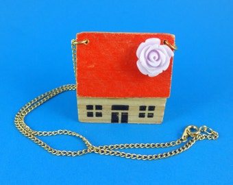 House Necklace - vintage wooden toy house with red roof and lilac flower, home sweet home, retro cute kitsch, cottage chic, granny chic fun!