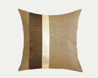 """Decorative Pillow case, Linen fabric with Brown Gold accent, fits size 18"""" x 18"""" insert, Toss pillow case, Cushion case."""