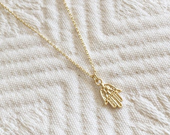 Hamsa Necklace, Evil Eye Necklace -- Gold Filled Chain