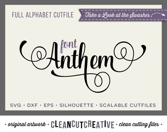 Full Alphabet SVG Fonts Cutfile - Fancy Script cricut font  DXF EPS - Silhouette Cameo & Cricut - commercial use clean cutting digital files
